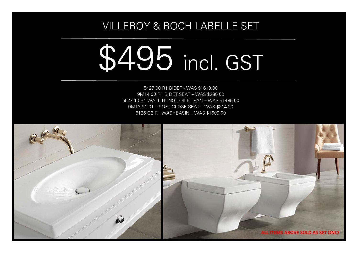 Villeroy & Boch La Belle Set: Basin, Bidet, Toilet - NZ Suppliers of ...