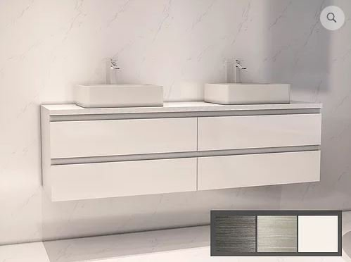 Rohm White Wall Hung Vanity With Vessel Basins And Engineered Stone Benchtop 1500 And 1800 Suppliers Of Bathroom And Kitchen War Taps Basins Toilets Showers Baths Villeroy Boch Keuco Fima